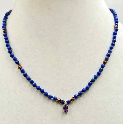 Stunning! Made for a Queen. Lapis Lazuli & Cranberry pearls on chocolate silk. 14KWG with a 10KWG amethyst & diamond pendant.