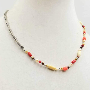 "Classic. Sterling silver, tri-tone coral & pearl unisex necklace on white silk. 19"" Length"