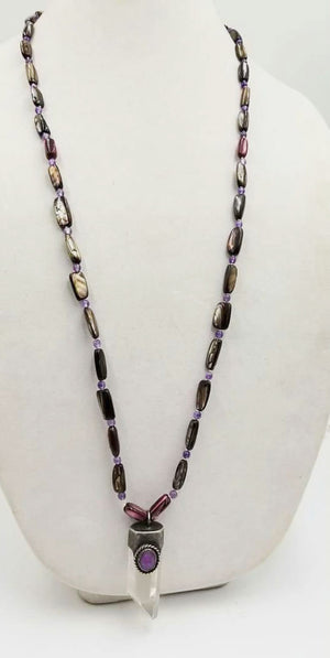 Dyed Mother of Pearl, and amethyst long men's quartz crystal pendant necklace on white silk.35""
