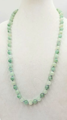 Fabulous, vintage, alternating celadon & apple jadeite rope necklace on periwinkle silk. 30.5