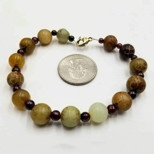 Men's carved hardstone & garnet sterling silver bracelet. 7.75'