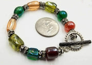 "Sterling silver, art glass & crystal bracelet. 7.25"" Length"
