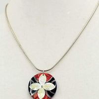 Mod floral mother of pearl & coral sterling silver pendant necklace.