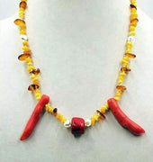"14k Baltic amber, coral, & pearl necklace hand-knotted white silk. 22"" Length."