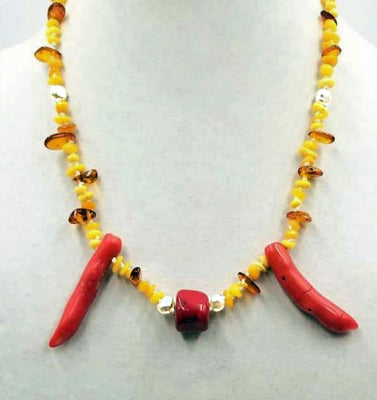 14k Baltic amber, coral, & pearl necklace hand-knotted white silk. 22