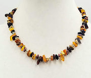 "14KYGold, Baltic amber & Mookalite Jasper necklace on sky blue silk. 18.5"" Length."