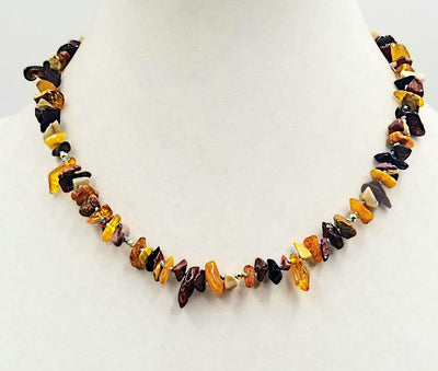 14KYGold, Baltic amber & Mookalite Jasper necklace on sky blue silk. 18.5