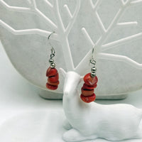 Sterling silver & red coral earrings. Very cute!
