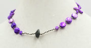 Dyed purple pearls and nugget labradorite princess length necklace on hand-knotted black silk.