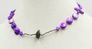 Past Works. Dyed purple pearls and nugget labradorite princess length necklace on hand-knotted black silk. Sold.