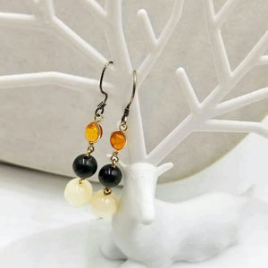Sterling Silver, Baltic amber, vintage spinach nephrite, jade, & Mother of Pearl dangle earrings