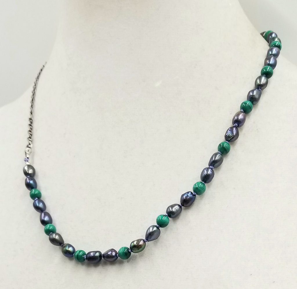 "Sterling silver, malachite & peacock pearls, men's unisex streetwear necklace on lilac silk. 20.5"" length."