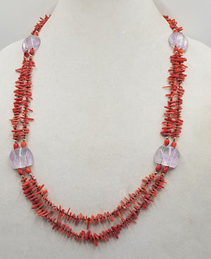 Bold, Mid-century style, 2-Strand Red coral & Rose de France Amethyst, with 14KYG clasp & hand-knotted verde silk, necklace.
