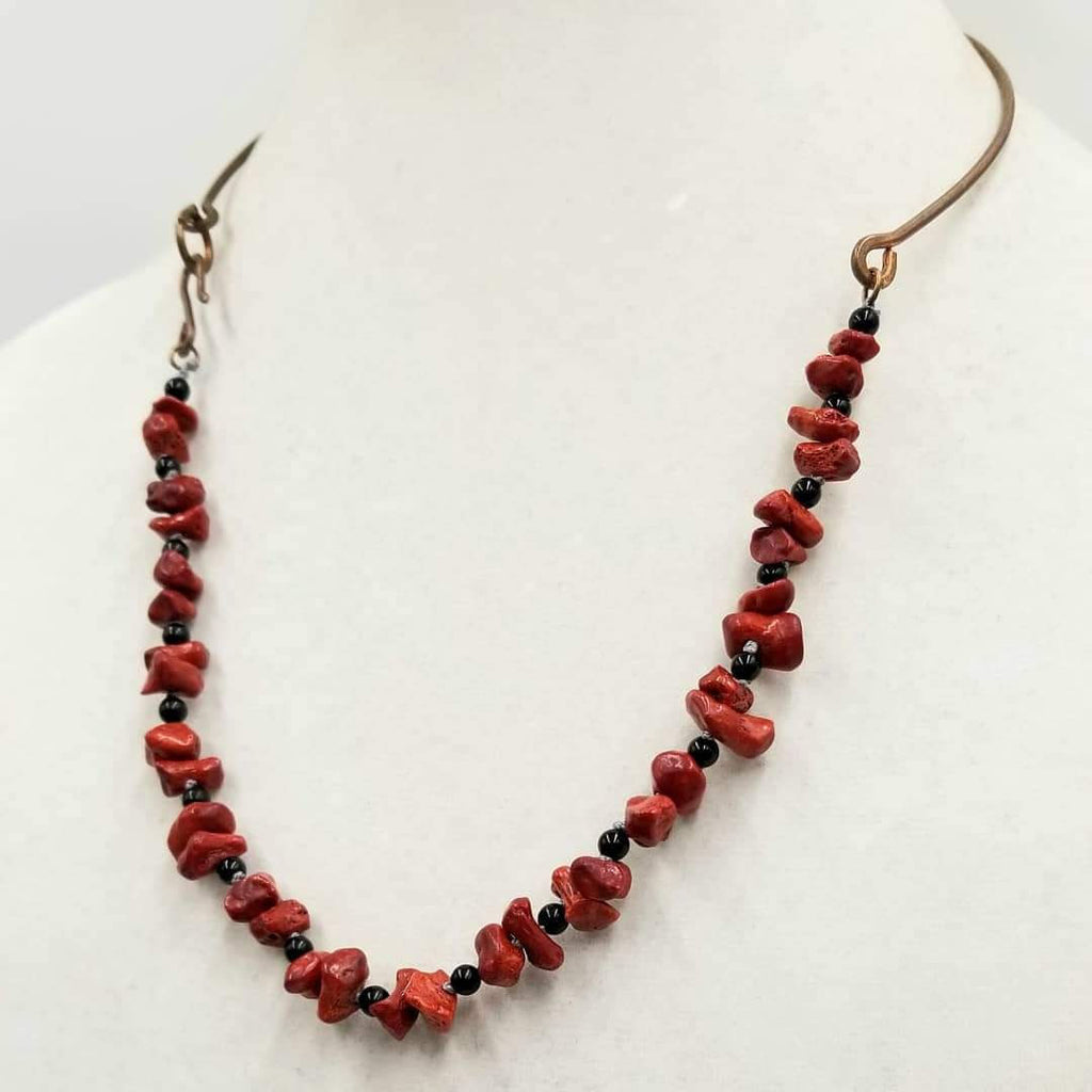 "Unisex, Copper, branch coral, & onyx, necklace. Hand-knotted with dove grey silk.  22"" length."
