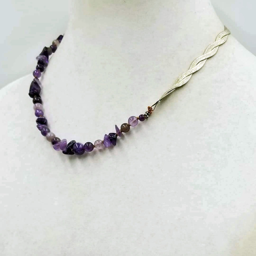 "Unisex, Adjustable, sterling silver & amethyst necklace, hand-knotted with coppertone silk. 17.5"" - 18.25"" length."