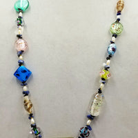 Pretty colors! Art glass, pearls, garnet, & sodalite, rope necklace on hand-knotted canary yellow silk.