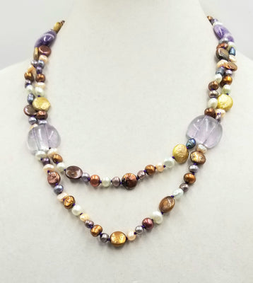Sterling silver, multi-color pearls & bi-tone amethyst, two strand necklace, hand-knotted purple silk.