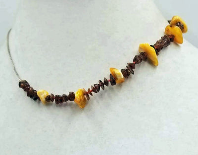Adjustable, bi-tone Baltic amber, sterling silver, men's unisex necklace knotted with crimson silk. 15.5 - 17