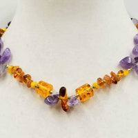 """The Bold & The Beautiful'"" 14KYG, amethyst & vintage Baltic amber necklace, hand-knotted with moss green silk. 17.75"" length."