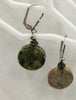 Sterling silver Euro hooks & unakite  pierced earrings. Vegan.