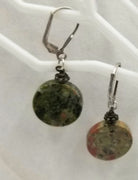 Sterling silver Euro hooks & unakite  pierced earrings.