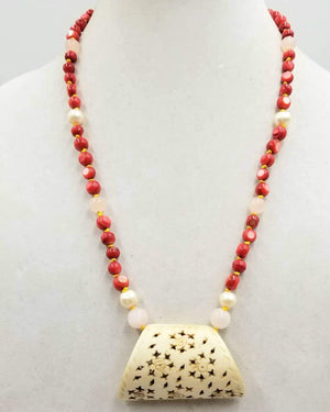 Sterling silver, dyed mother of pearl, rose quartz & white pearl, bone pendant necklace, hand-knotted with golden silk.