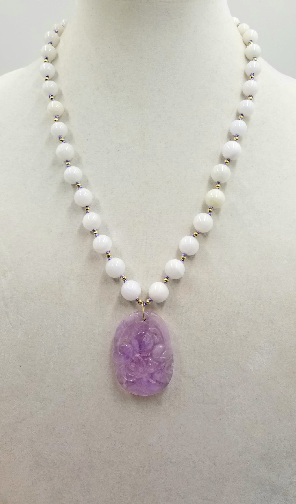 Lavender jadeite carved amulet with graduated white jadeite beads, 14KYG, necklace master hand-knotted periwinkle silk.
