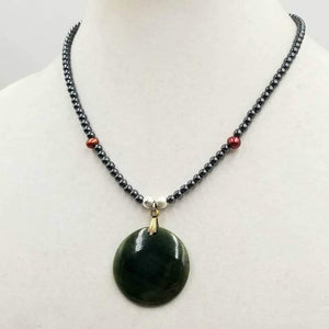 "Past Work. Boldly understated, unisex, adjustable, sterling silver, hematite, & pearl necklace with vintage spinach nephrite pendant. 18"" - 20"" lenth. Sold."