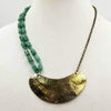 "Super hero necklace! Made of Sterling silver, aventurine, & hand hammered brass necklace.  19"" length."