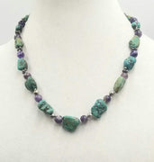 "Lizards!!! Sterling silver, turquoise & amethyst necklace, hand-knotted white silk with sterling silver gecko clasp. 20"" length."