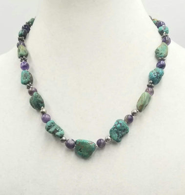 Lizards!!! Sterling silver, turquoise & amethyst necklace, hand-knotted white silk with sterling silver gecko clasp. 20