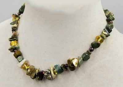 Bold, unisex necklace. Sterling silver, tiger's eye, pearl, unakite, aventurine necklace on silk. 16