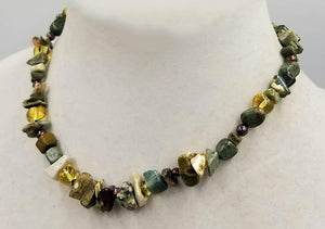 "Bold, unisex necklace. Sterling silver, tiger's eye, pearl, unakite, aventurine necklace on silk. 16"" Length."