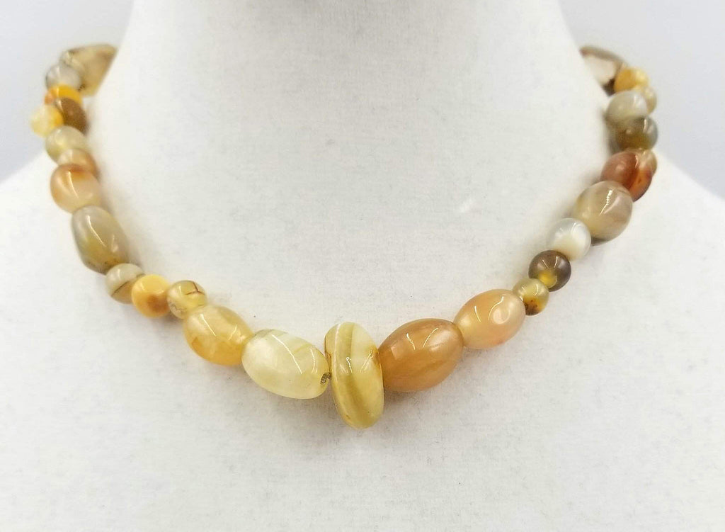 Vintage yellow agate, hand-knotted on silk, necklace with aventurine charm.