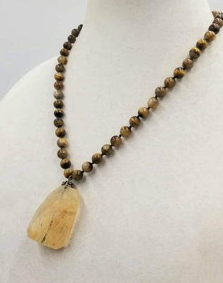 Unisex. Sterling silver & tiger's eye necklace with art glass pendant on silk. 20