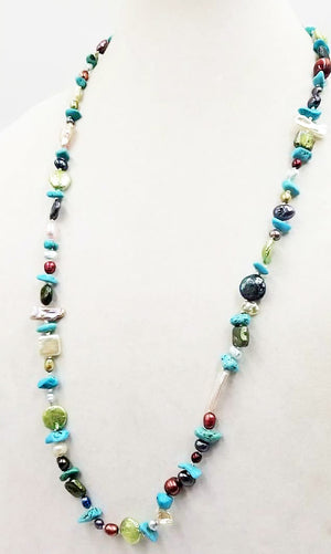 "Show your colors! Multi-color pearl & turquoise & dyed magnesite rope necklace (31""). Hand-knotted on white silk."