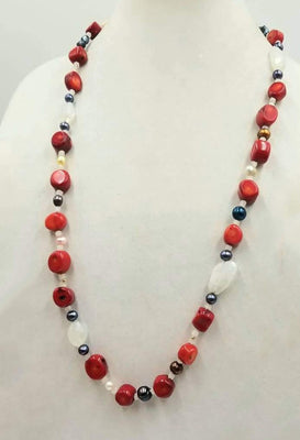 Bold! Red coral, pearls, moonstones, & 14KYG necklace on hand-knotted white silk. 33
