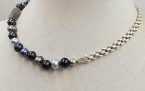 Absolutely stunning! Adjustable multi-color pearls, labradorite & sterling silver necklace on hand-knotted lavender silk. 15.5-19.75 inch length.