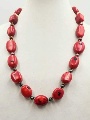 Bold, sterling silver, ombre pearl & coral necklace on hand-knotted golden silk. 29