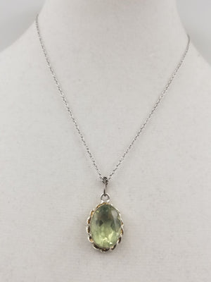 SOLD, Massive sterling silver, green amethyst, pendant necklace.