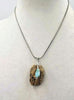 "Unique necklace made from Sterling silver, picture jasper & Larimar pendant necklace. 16.5"" length."