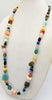 "Sterling silver, faceted agate, jasper, tiger's eye, 37"" long necklace."