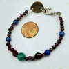 "Vegan-wear. Sterling silver, garnet, blue jasper, & malachite bracelet. 7"" length."