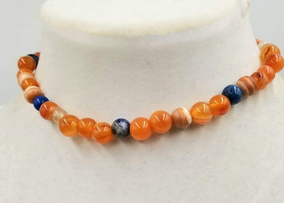 Bold choker necklace with carnelian, dyed shell, lapis lazuli, & agate. Goldfilled clasp. 13.5