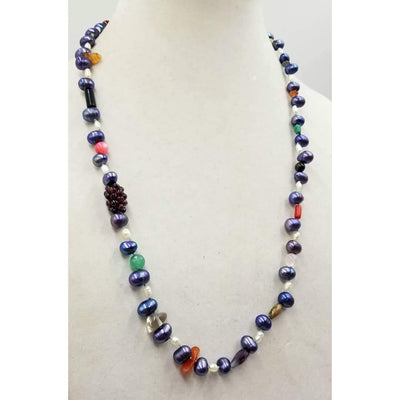 Beautiful, multi-color, multi-stone rope necklace, hand-knotted with sky blue silk. 26