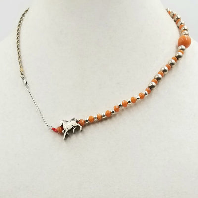 Love Horses? Sterling silver, orange aventurine, & silvertone horse charm, necklace hand-knotted with crimson silk. 19