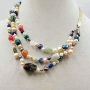 Like rainbows? This 3-strand! This 3-strand, Sterling Silver, multi-stone, multi-color, necklace.