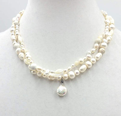 Two Strand, Pearl, MOP, sterling silver, jasper, vermeil,  on hand-knosilk necklace.