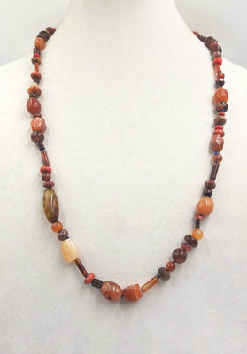 Agate, coral, tiger's eye, carnelian rope necklace, hand-knotted with periwinkle silk. 30