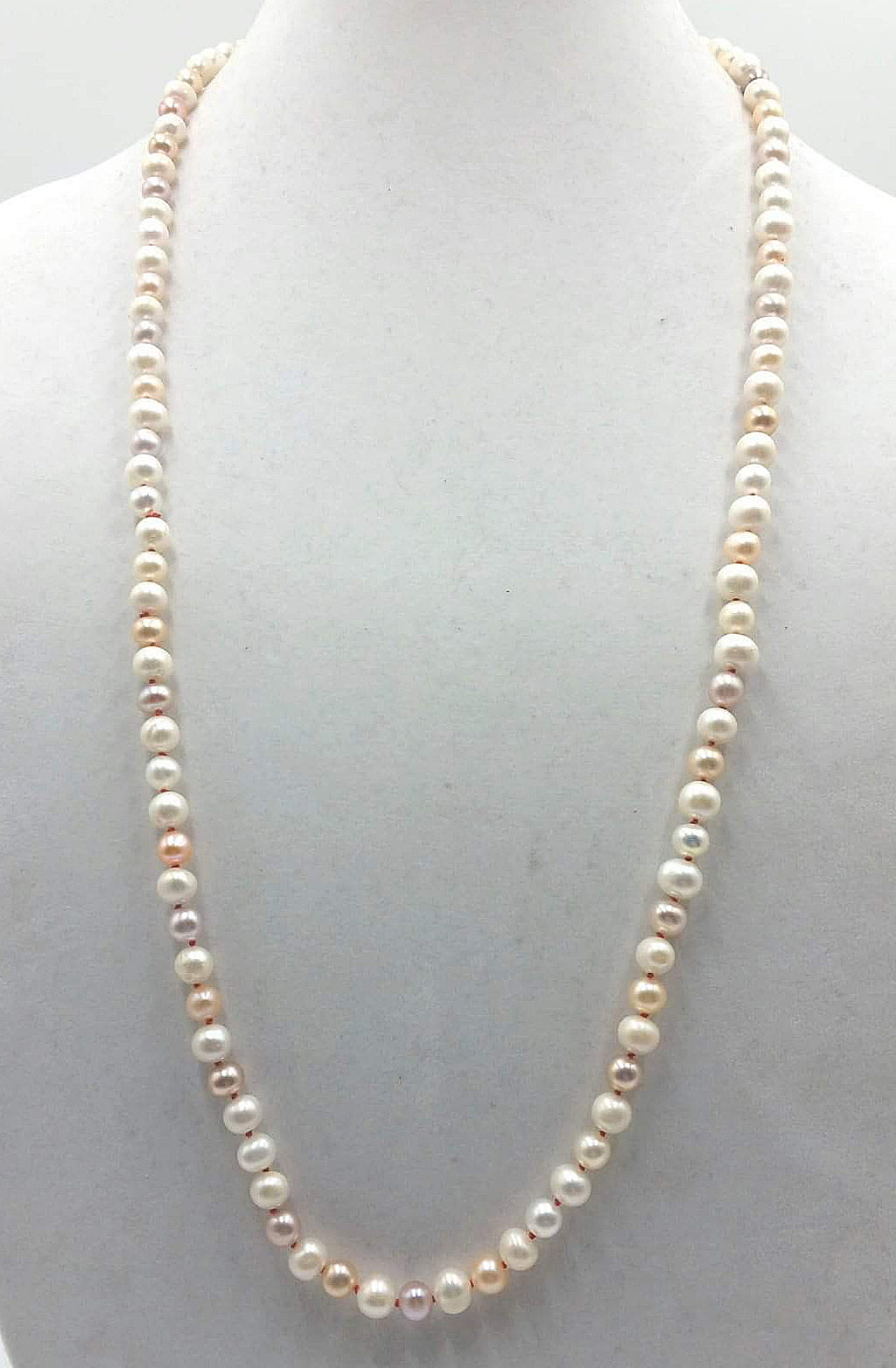 "Stunning & Classic. Beige, pink, & white pearl rope necklace, crimson silk. 32"" length."